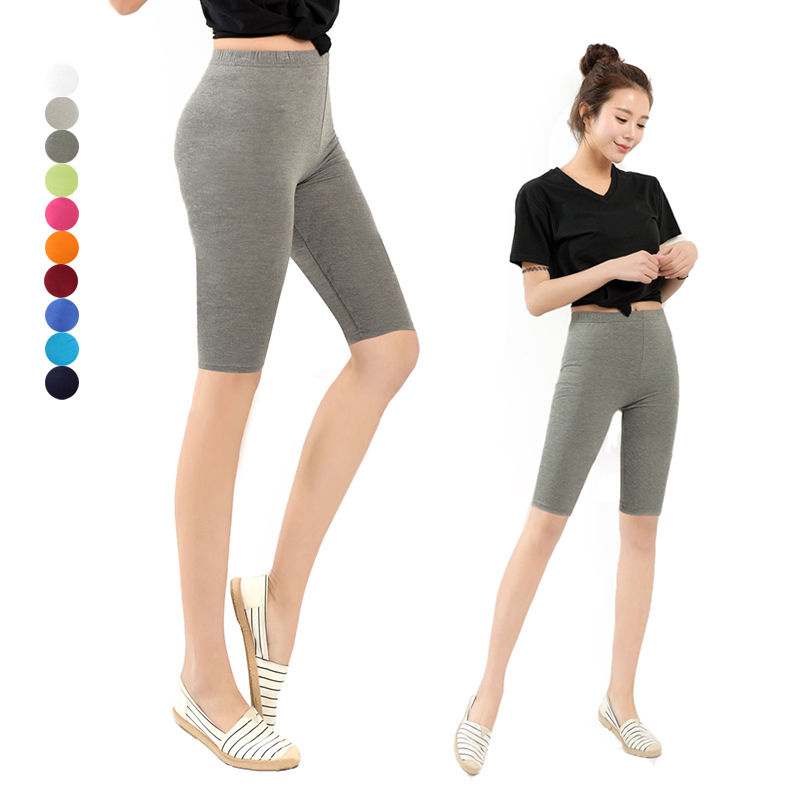 Women Shorts Knee Length Elastic Solid Color Running Fitness Girl Casual Trousers Plus Size 3-5XL NGD88