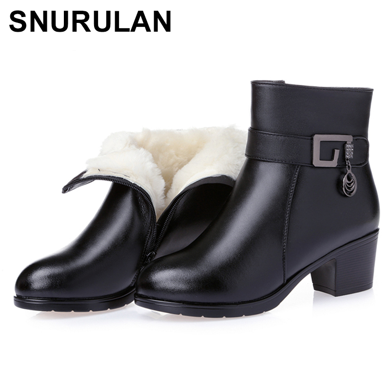 SNURULAN Women's Boots Shoes new winter thick wool fur lined genuine leather woman boots large warm ladies ankle booties black
