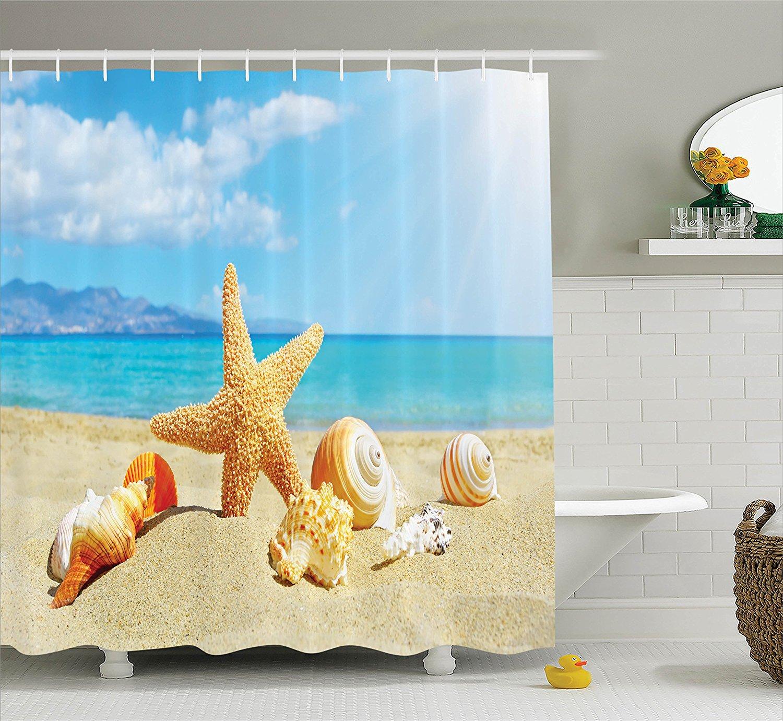 summer seashells beach shower curtain