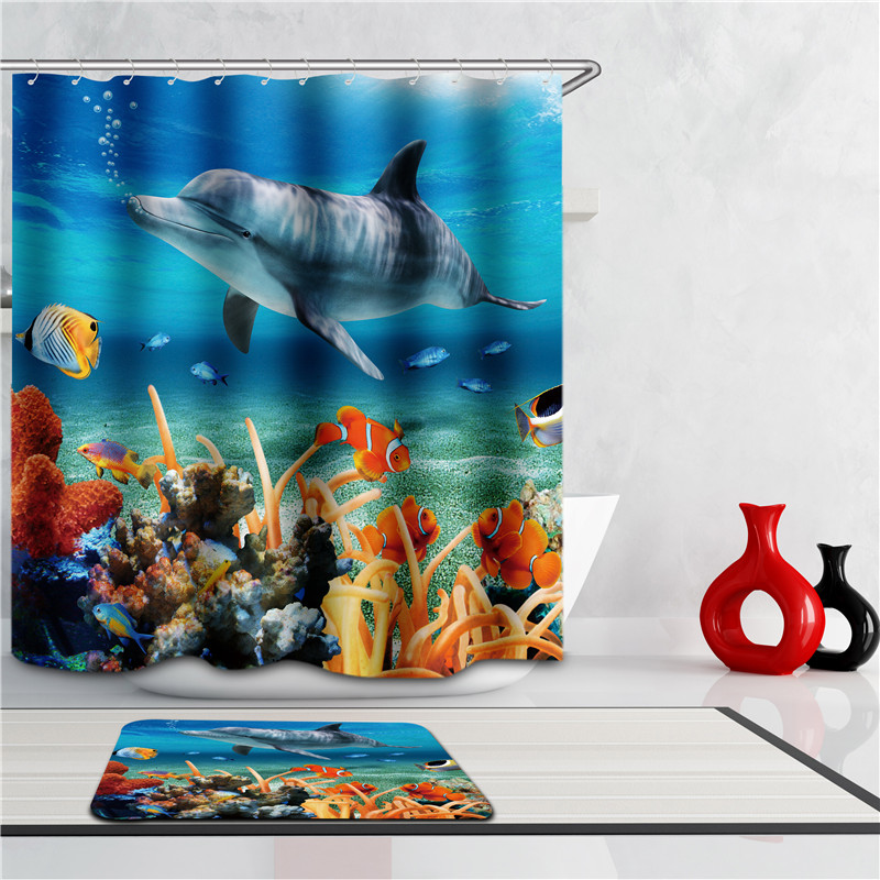 2017 Hot Bathing Curtain Sea Life Waterproof Fabric Bathroom Shower Curtain  Light Blue 1.8 X1.