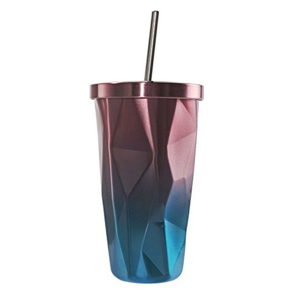 HOT SALE Stainless Steel Tumbler With Straw - Hot And Cold Double Wall Drinking Cups Coffee Mugs 500ML Irregular Diamond With