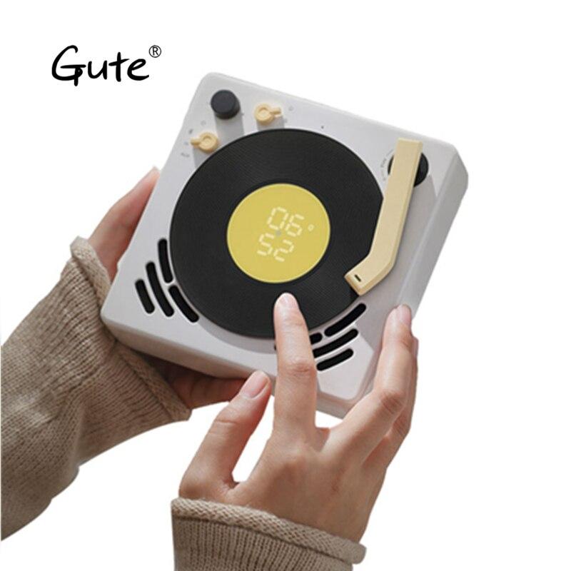 US $99 96 |Gute Phonograph mini Retro Design Bluetooth speaker Jukebox  Alarm Clock sleep timer turntable Suspenable caixa de som portatil-in