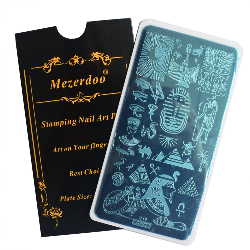 Nail Stamping Plates Egypt Pharaoh Pyramid Theme Nail Art Stamp Plate Crocodile Lion Pattern Image Manicure Stencil DIY Tool C16 in Nail Art Templates from Beauty Health