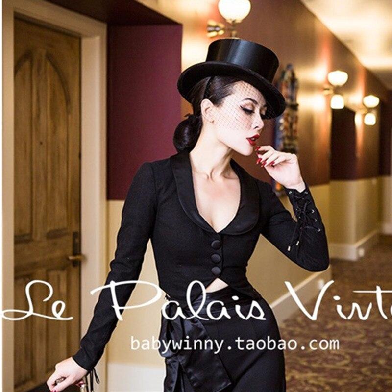 Elegant Jacket Blazer Vintage Palais Coat Longa Manga Feminino Black Plus-Size 50s Wool