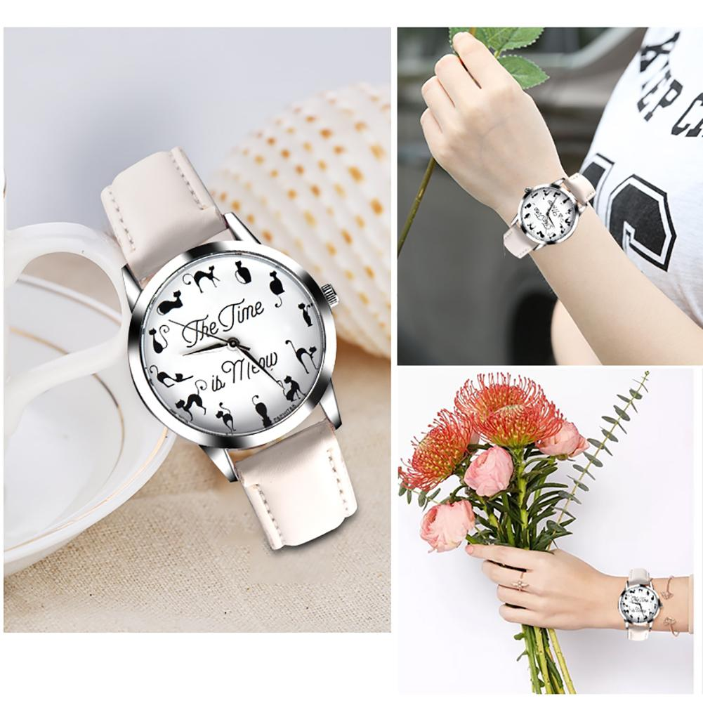 Novelty Cat Letter Dial Quartz Moment Faux Leather Band Couples Wrist Watches Relogio Feminino Saat Watches For Women