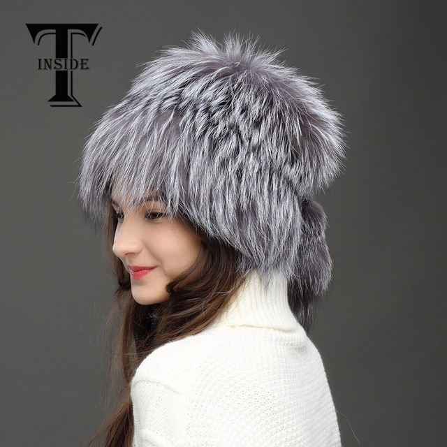 T-INSIDE New Real Fur Hat Russia Winter Hats Women Genuine Knitted Silver Fox Fur Hat  High-End Female Cap