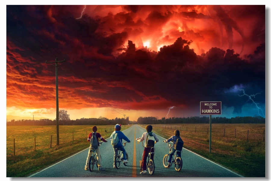 Custom Canvas Wall Decoration Stranger Things Poster Stranger Things Wall Stickers TV Play Wallpaper Kids Room Wall Mural #0241#