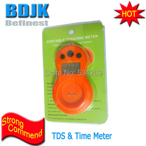 Brand New TDS & TIME Meters Waterproof TDS Tester Mini TDS and Time 2-IN-ONE 0~9990PPM цена