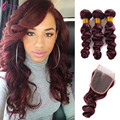 3 bundles with closure 99J Burgundy Peruvian Virgin Hair With Closure Wine Red Loose Wave Human Hair 3 Bundles With Lace Closure