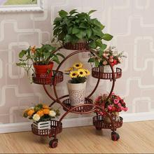 European-style pulley iron flower rack multi-layer assembly corner living room simple pastoral bonsai movable shelf