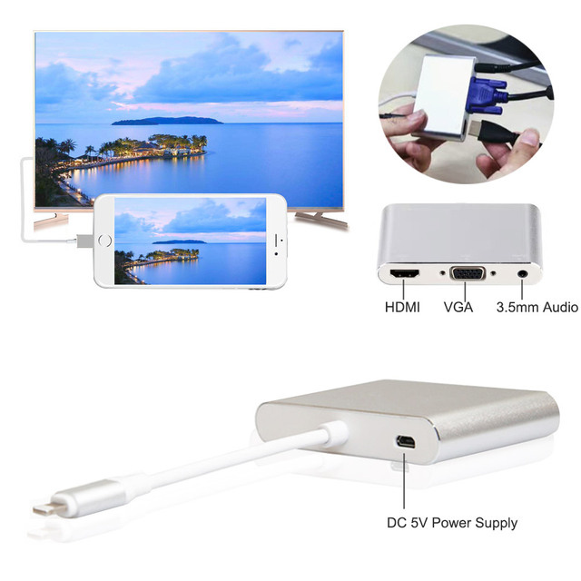 2017 latest new silver aluminium alloy light ning to hdmi vga audio adapter for iphone5s/6/6s/7 ipad hdmi vga converter adapter