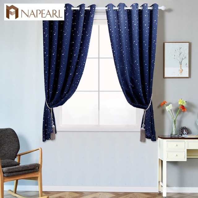 Napearl Short Blackout Curtains Star Design Treatment High Shading For Kid Bedroom Child Panel Draper Navy Blue Window