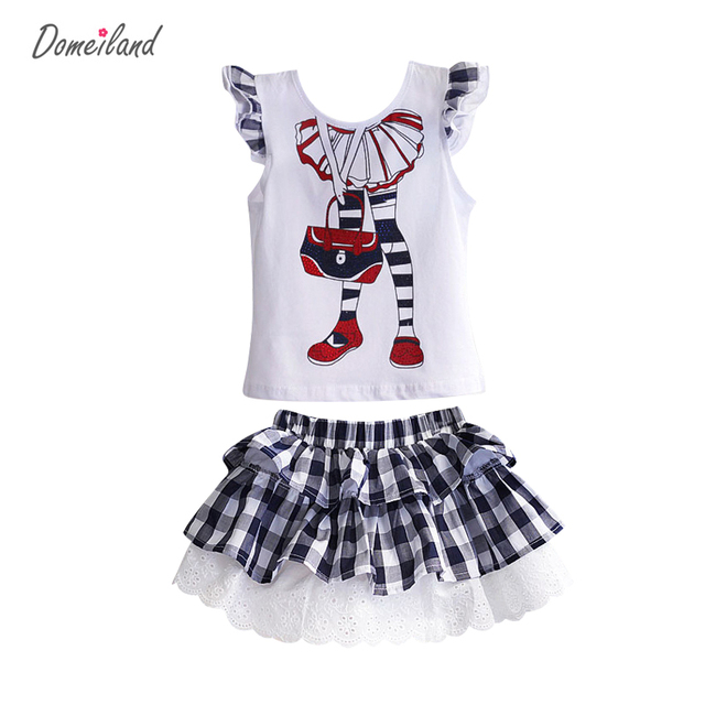 2017 fashion summer children clothing outfits sets for kids girl cotton sleeved ruffle Sequin tops lace plaid skirt suits