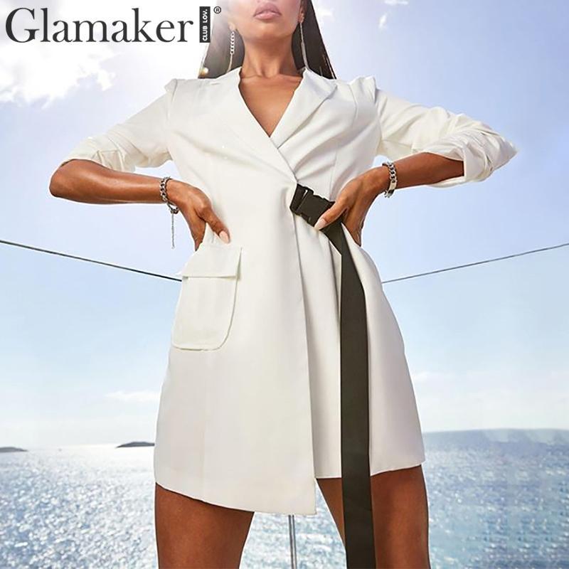 Glamaker V Neck White Sash Women Blazer Dress Autumn Solid Long Sleeve Casual Jacket Female Office Lady Elegant Blazer Dress