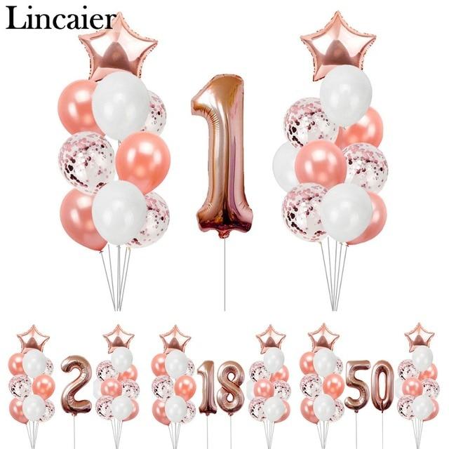 Lincaier Rose Gold Star Foil Latex Balloons Happy Birthday Party Decorations Kids Decor White Ballon Helium Balon 1st 2 18 50 60