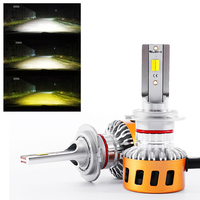 2X Triple 3 Colors 9005 9006 H8 H11 H4 H7 H1 H3 880 881 LED Head Lights White Golden Yellow Warm White