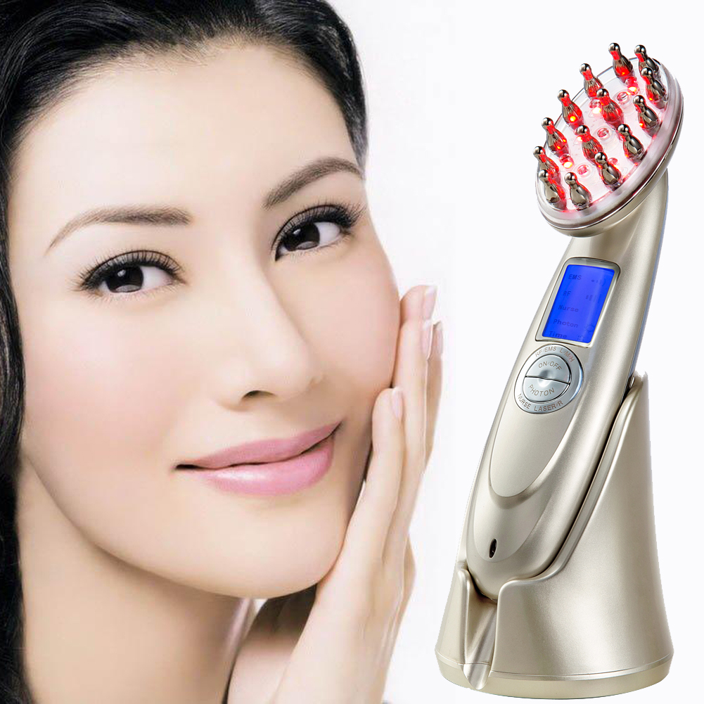 Portable Photon Vibrating Laser Comb Hair Loss Treatment Brush Hair Growth Comb Therapy Vibration Massage Hair Loss free shipping 2016 new arrival usb rechargeable electric laser hair growth massager comb brush for hair loss treatment
