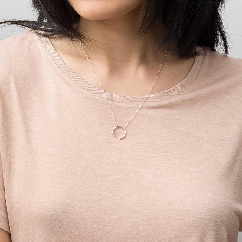 Coreano moda clássico minimalista aço inoxidável colar senhoras lua pingente longo colar de ouro jóias 2019