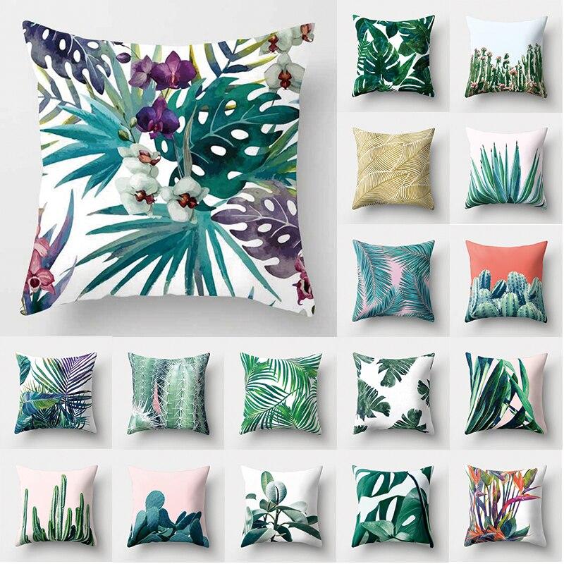 1Pcs Tropical Cactus Monstera Pattern Polyester Throw Pillow Cushion Cover Car Home Decoration Sofa Decorative Pillowcase 40506