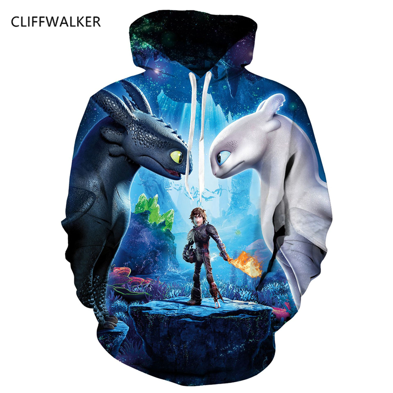 Spring Autumn Thin Stylish 3D Print How to Train Your Dragon Sweatshirts Men/Women Pullover Hoodies With Hat Hooded Hoodies Tops