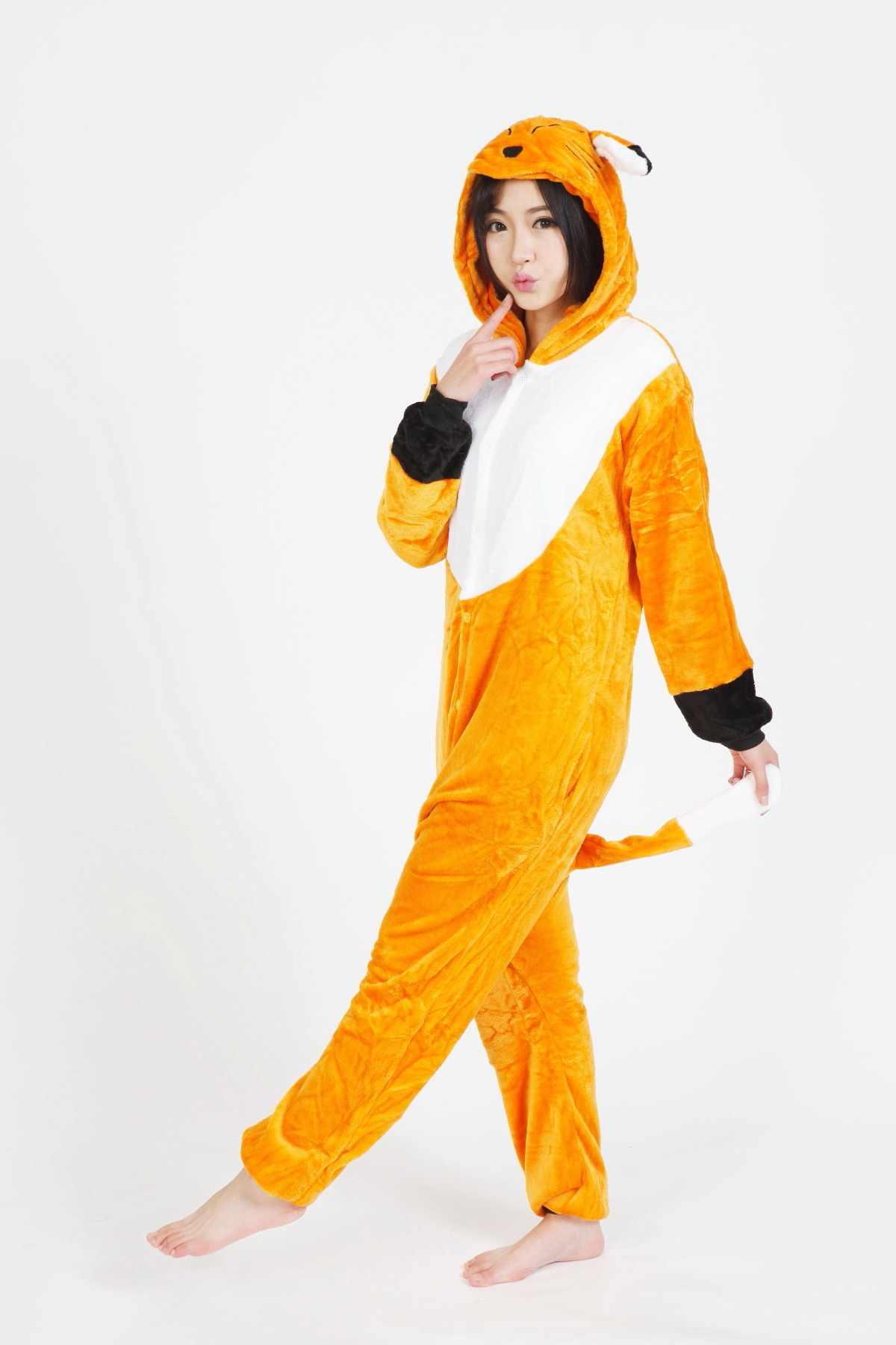 ... Кигуруми осень и зима животных мультфильм фланель желтый мягкий  комбинезон в виде лисы любителей пижамы для ... 07862f7296b2c