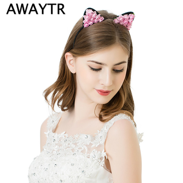 AWAYTR Festival Cat Ear Headband 2017 New Handmade Paper Flower Hairband Brand New Women Girls Cosplay Halloween Day Gift