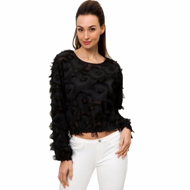 e34151c07b Fringe Patch Mesh Sexy Black Long Sleeve Round Neck Elegant Women T-shirt