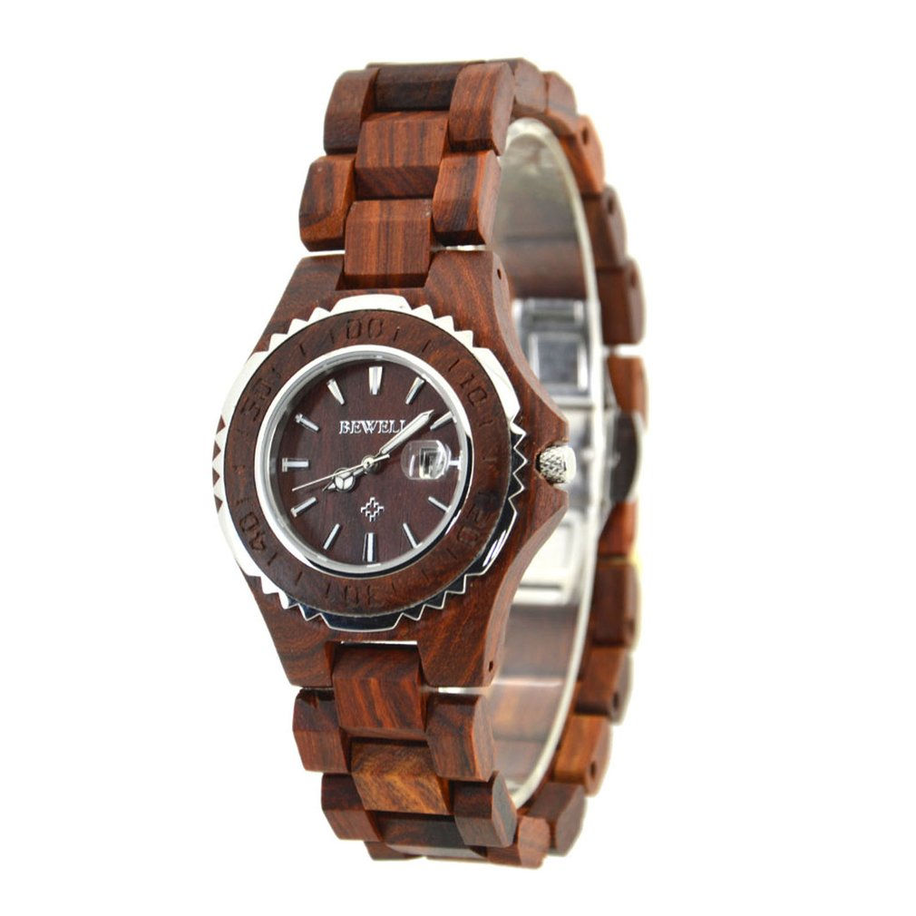 BEWELL Luxury Brand Women's Quartz Movement Waterproof Wooden Watch Ladies Round Dial Analog Display Date Calendar Wristwatch bewell fashion luxury brand wooden watch for man round dial date display wristwatch and luminous pointers wood watch zs 109a