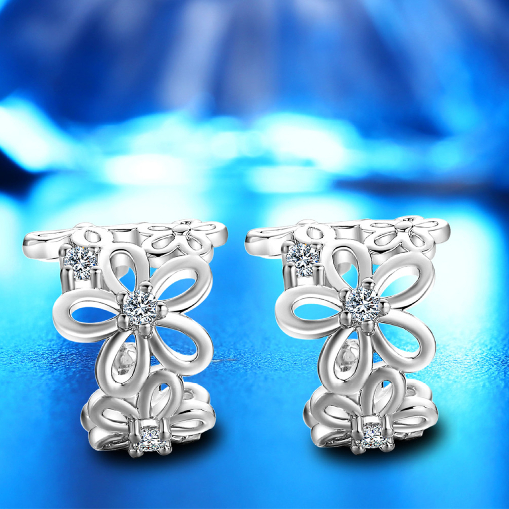 Kofsac New Exquisite Silver/rose Gold Color Flower Ear Clip Earring No Ear Hole Ear Clip S925 Earrings For Women Girls Brincos Earrings Clip Earrings