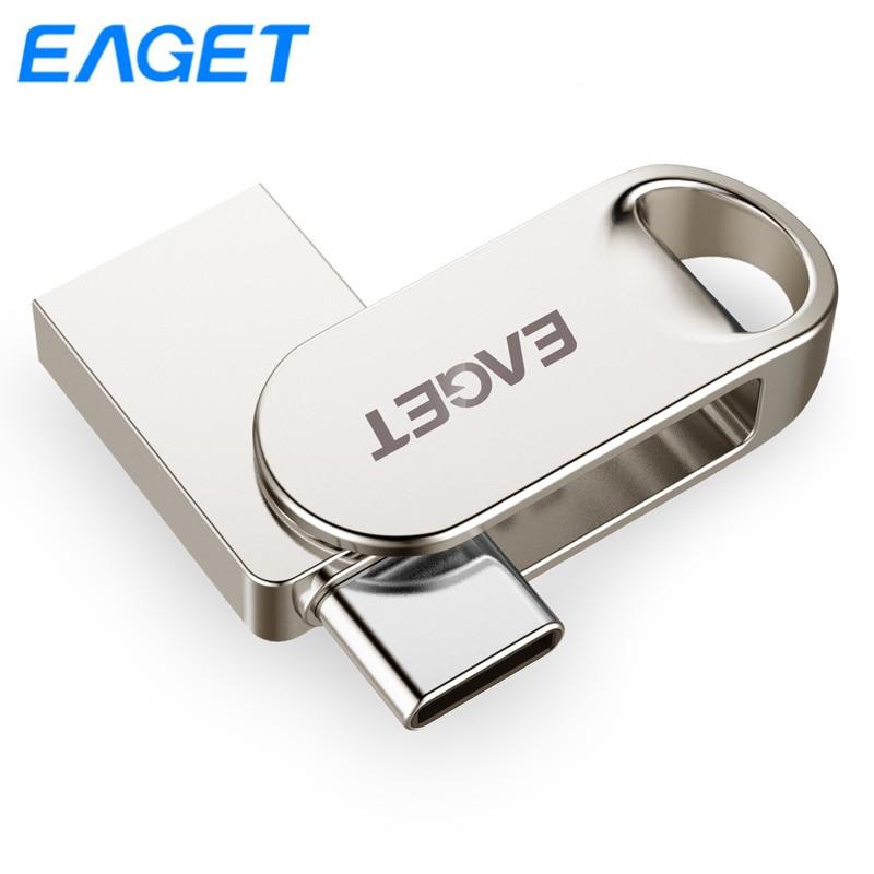 Eaget CU30 USB Flash Drive 32gb 64gb 128gb Metal Pen drive 64GB Type C mini flash disk cle Usb 3 0 Key Pendrive 128gb USB stick in USB Flash Drives from Computer Office