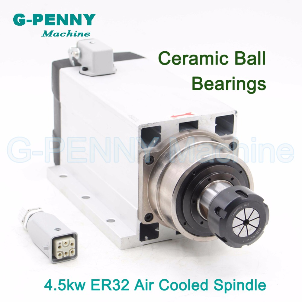 4.5KW ER32 Air cooled square spindle motor with flange 220v/ 380v CNC air cooling for wood working CNC router engraving machine 4.5KW ER32 Air cooled square spindle motor with flange 220v/ 380v CNC air cooling for wood working CNC router engraving machine