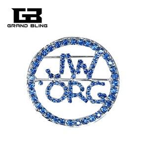Синие стразы, брошь «очевидец», круглый дизайн, булавка с отворотом JW.ORG