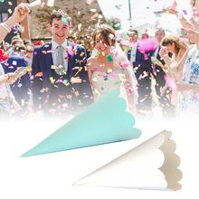 50pcs Laser Cut Wavy Lace Laying Candy Wedding Party Favors Confetti Cones Paper Cone Decoration Supplies Gifts