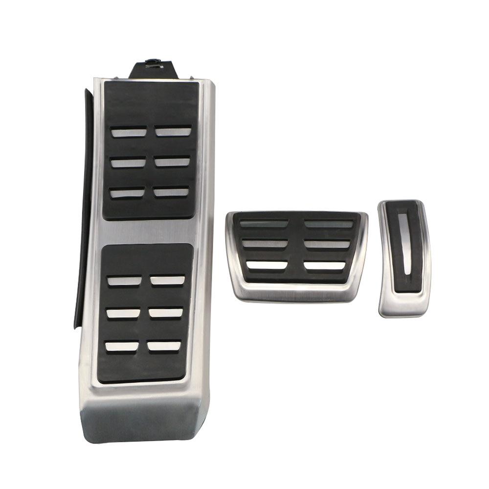 Carmilla 3Pcs Car Fuel Brake Footrest Pedal Pedals AT for Audi A3 A4L A6 A6L A8L S4 RS4 A5 S5 RS5 8T Q5 SQ5 8R AT Accessories