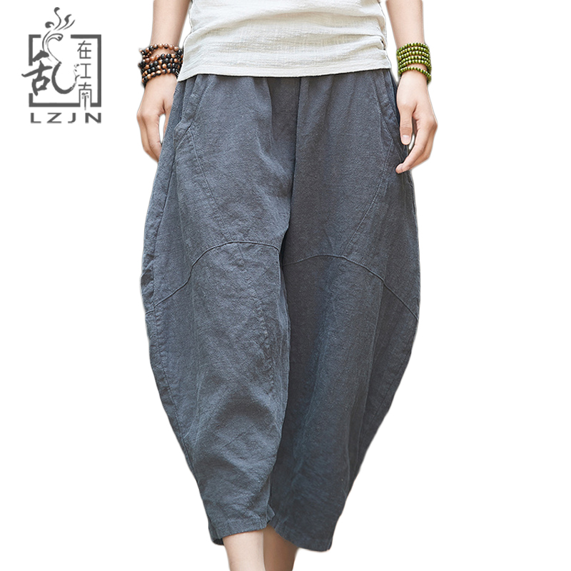 LZJN Loose Capri Pants for Women 2019 Summer Patchwork Linen Trousers Elastic Waist Ladies Bloomers Hippie Baggy Harem Pants