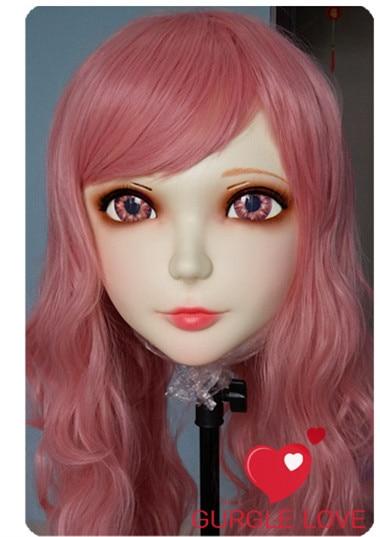 (GL010)Female Sweet Girl Resin Kigurumi BJD Mask Cosplay Japanese Anime Role Lolita Lifelike Real Mask Crossdress Sex Love Doll