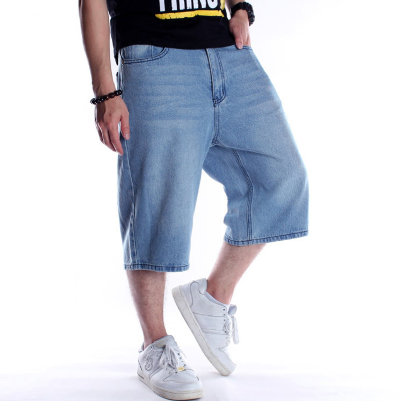 Denim Straight Shorts Male Plus Size 46 Knee Length Jeans Shorts Men Summer Loose Breeches Vintage Streetwear Denim Shorts X9137