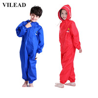 VILEAD Thick Children Raincoat Polyester Cute Baby Solid Outdoor Rain Coat Waterproof Jumpsuits Poncho Big Hat Student Rainwear