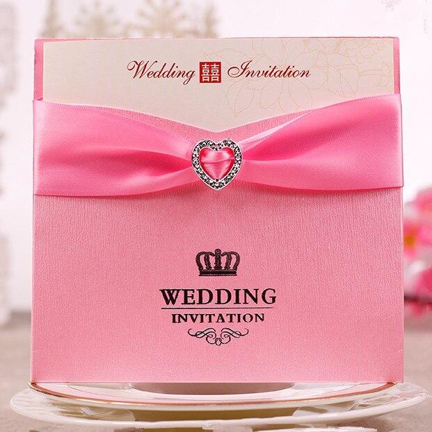 Grosir Warna Pink Kartu Undangan Pernikahan Merah Dengan Hati