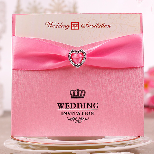 Wholesale Color Pink Red Wedding Invitation Card With Heart Diamond Rhinestone Buckle Ribbon Decorations
