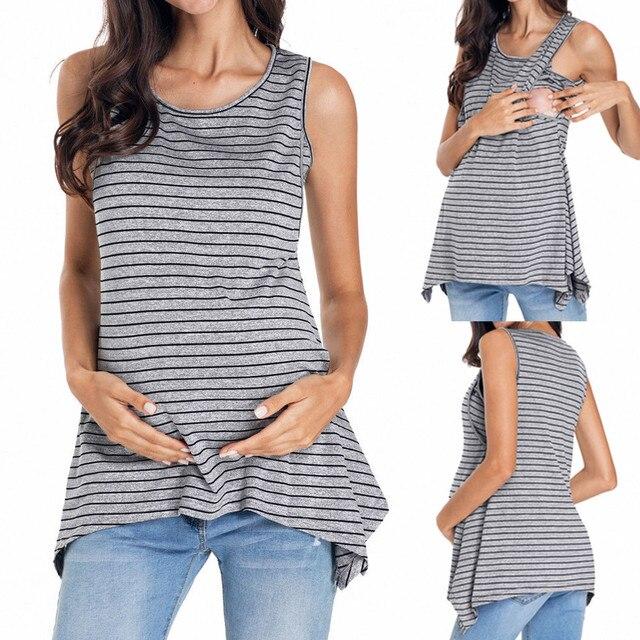 abee93a92 Maternidad camisetas embarazada de ropa de maternidad de enfermería  lactancia materna o-Cuello chaleco camiseta de maternidad vestidos de damas  ropa de ...