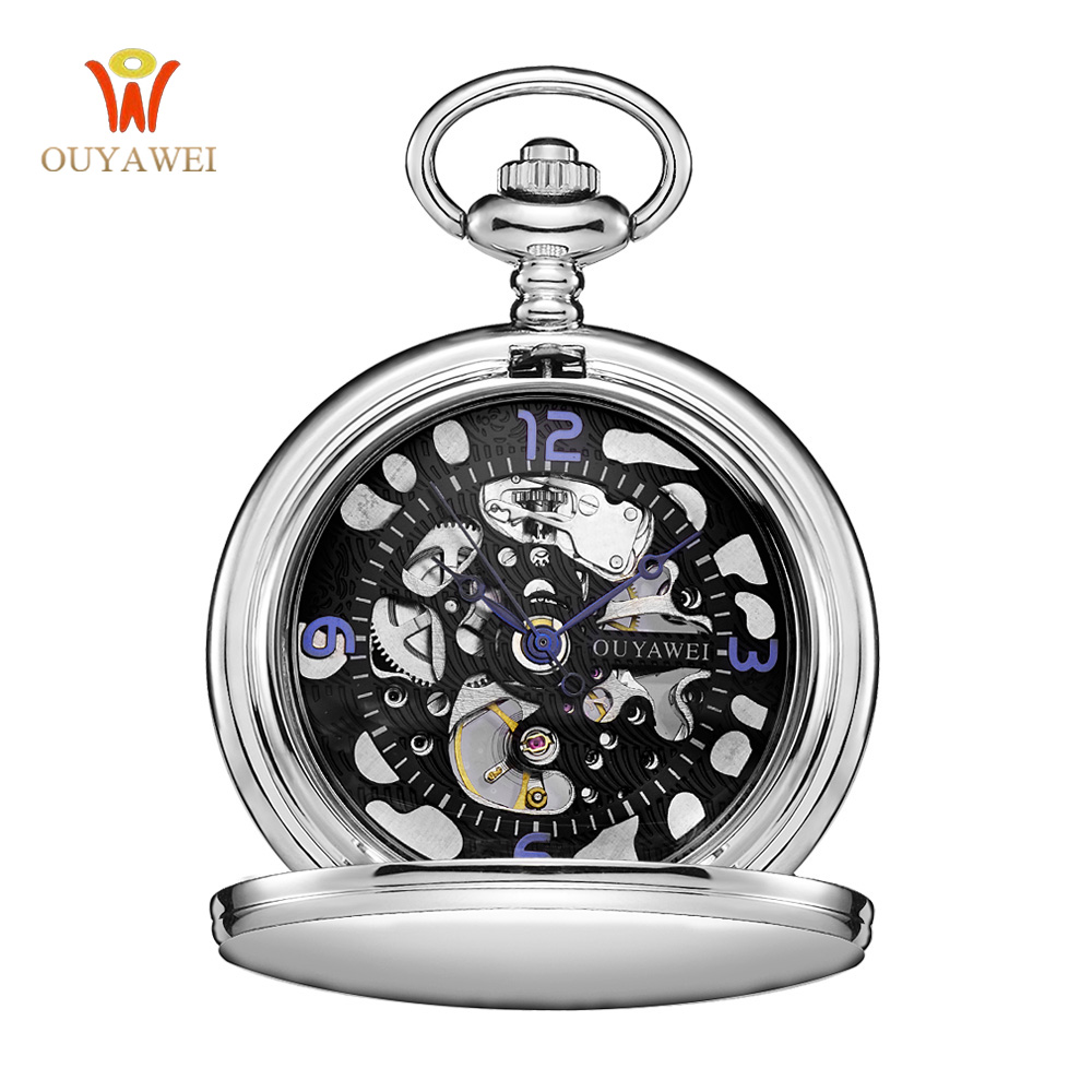 Steampunk Pocket Watch OUYAWEI New Design Luxury Brand Fashion Skeleton Watches Hand Wind Mechanical Pocket Watch Delicate Gift
