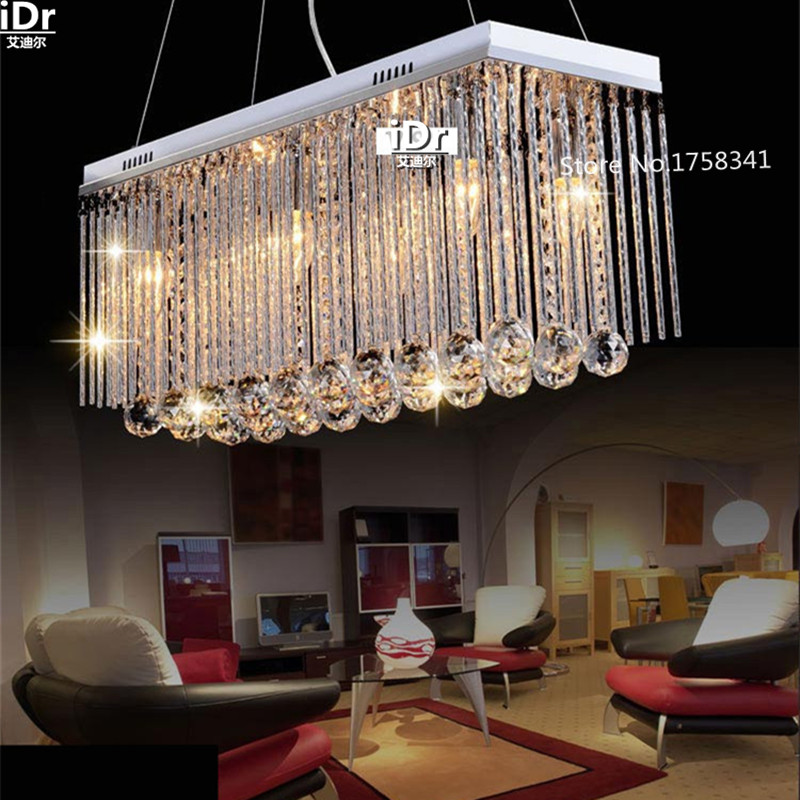 Hot Long Size Rectangle Crystal Pendant Light Fitting Crystal chandelier ceiling suspension lamp for dining room