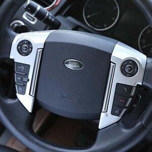 Chrome volante capa botão adesivo acessórios interiores guarnição para a descoberta 4 lr4 range rover sport freelander 2