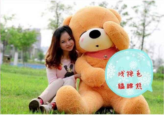 Huge 220CM/2.2M giant stuffed teddy bear animals kids baby plush toys dolls life size teddy bear girls gifts 2018 New arrival big size teddy bear ted 2 plush toys in apron 45cm soft stuffed animals ted bear plush dolls for baby kids christmas gifts