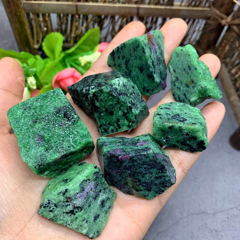 AAAA+ 50g Natural Mineral Ruby In Fuchsite Crystal Stone Rock Chips Specimen Healing Collection Natural Crystal Fish Tank Stone