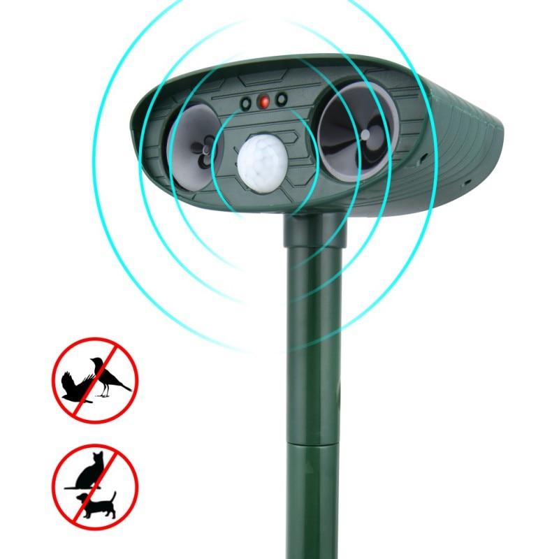 Solar Ultrasonic Repeller Deterrent Pest Outdoor Garden Cat Infrared Sensor Animal Repellent Chaser Ultra Sonic Repeller