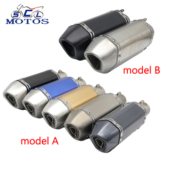Sclmotos -38-51MM Motorcycle Ak Exhaust Muffle Pipe Slip-on Motorbike Exhaust Pipes ER6N NMAX NINJA TMAX530 MT07 MT09 CBR