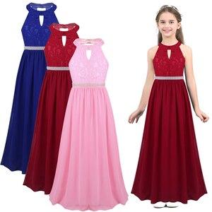 Image 2 - New Teen Girls Summer Chiffon Halter Beaded Waist Flower Girls Dress Princess Pageant Wedding Bridesmaid Birthday Party Dress
