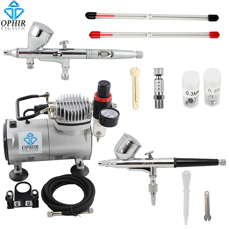 OPHIR 2 Double Action Airbrush Kit with Air Compressor for Model Hobby Temporary Tattoo Air Brush Spray Gun_AC089+AC004+AC070 ophir temporary tattoo tool dual action airbrush kit with air tank compressor for model hobby cake paint nail art ac090 ac004